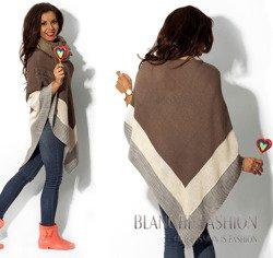 Cappuccino Asymmetrical Knitted Poncho - One size