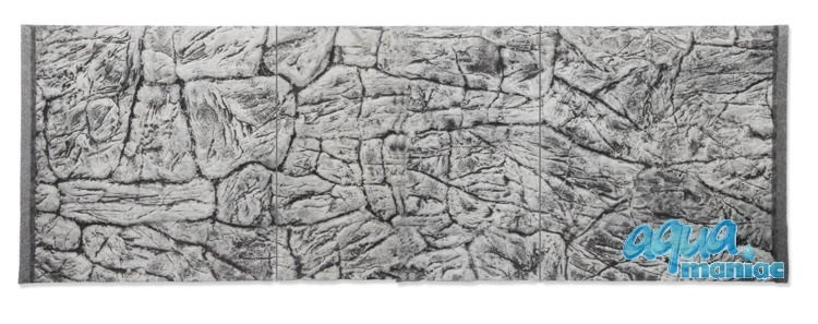 3D Thin Grey Rock Background 239x56cm in 4 section to fit 8 foot by 2 foot tanks