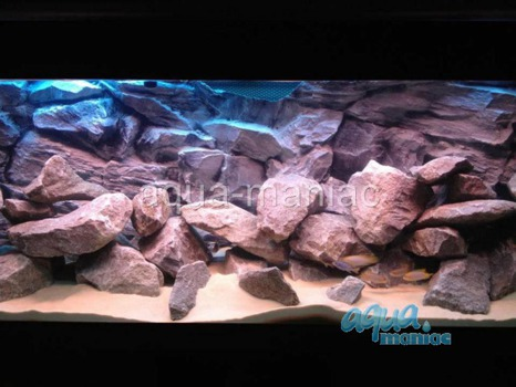 3D grey rock background 57x27cm