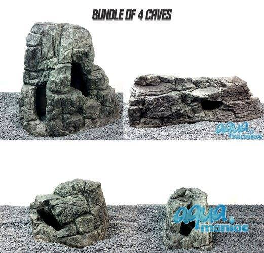 Bundle of 4 Grey Caves for aquariums