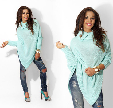 Mint Asymmetrical Knitted Poncho - One size